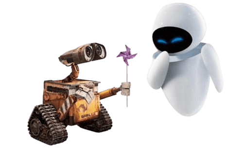 робот валли дарит цветок